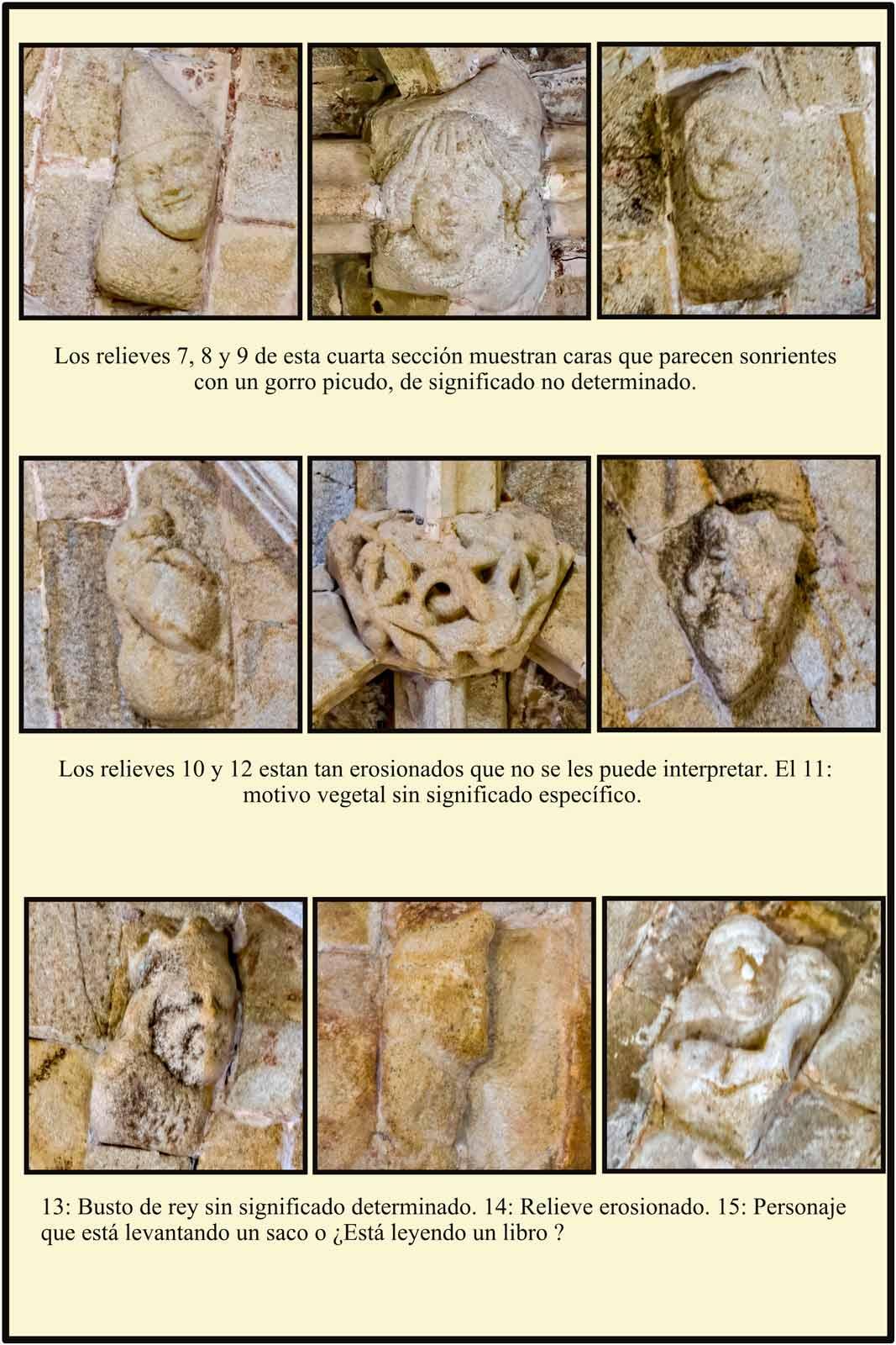 Caras con gorros picudos sonrientes y otros símbolos en la bovedad de la Catedral de Plassencia