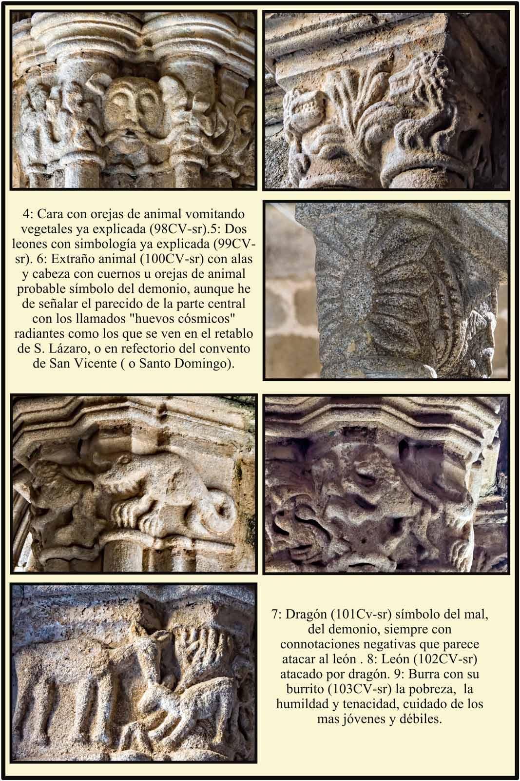 Simbolos del mal y del bien en capiteles romanicos del claustro de la Catedral Vieja