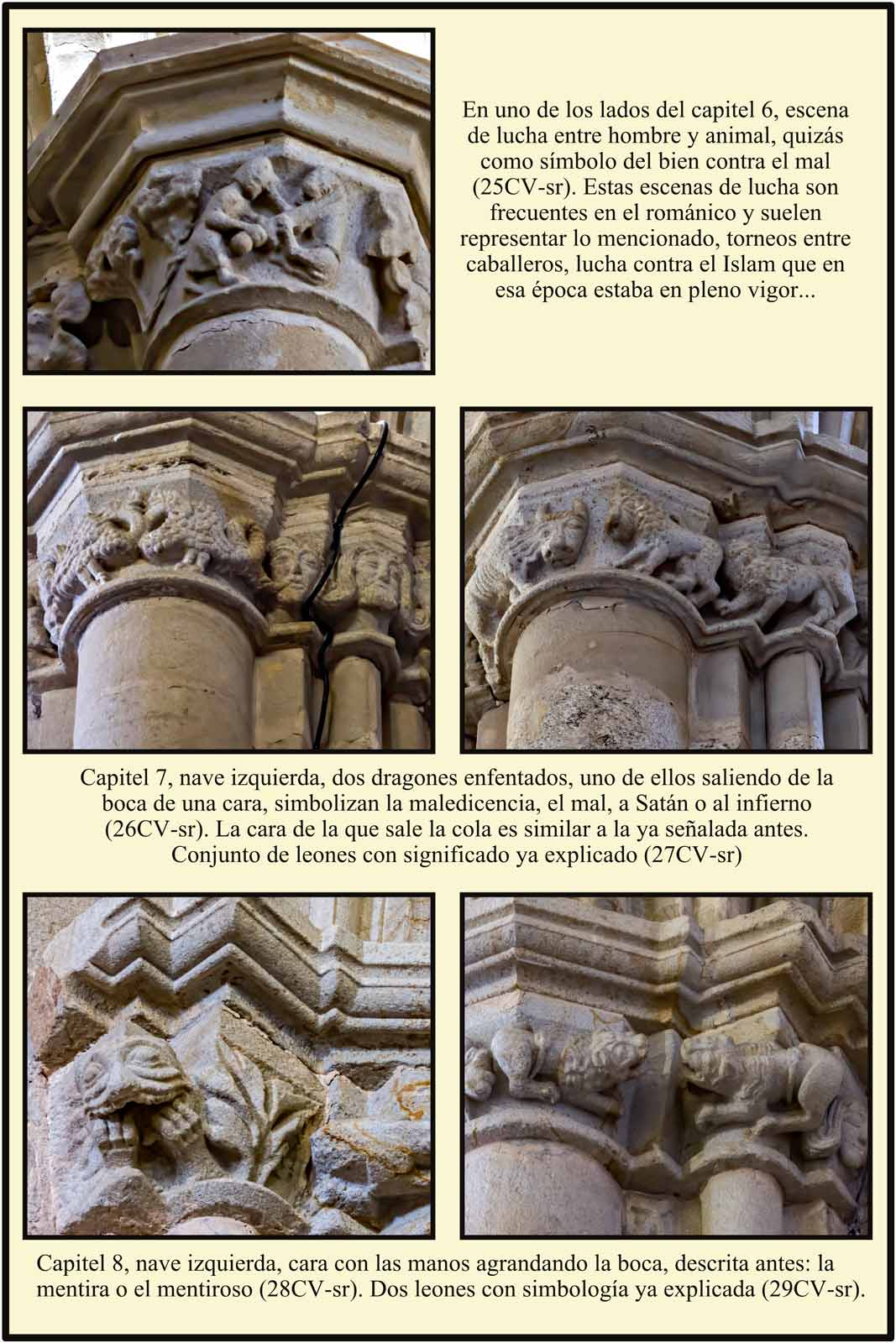Animales caras escena lucha capitel romanico