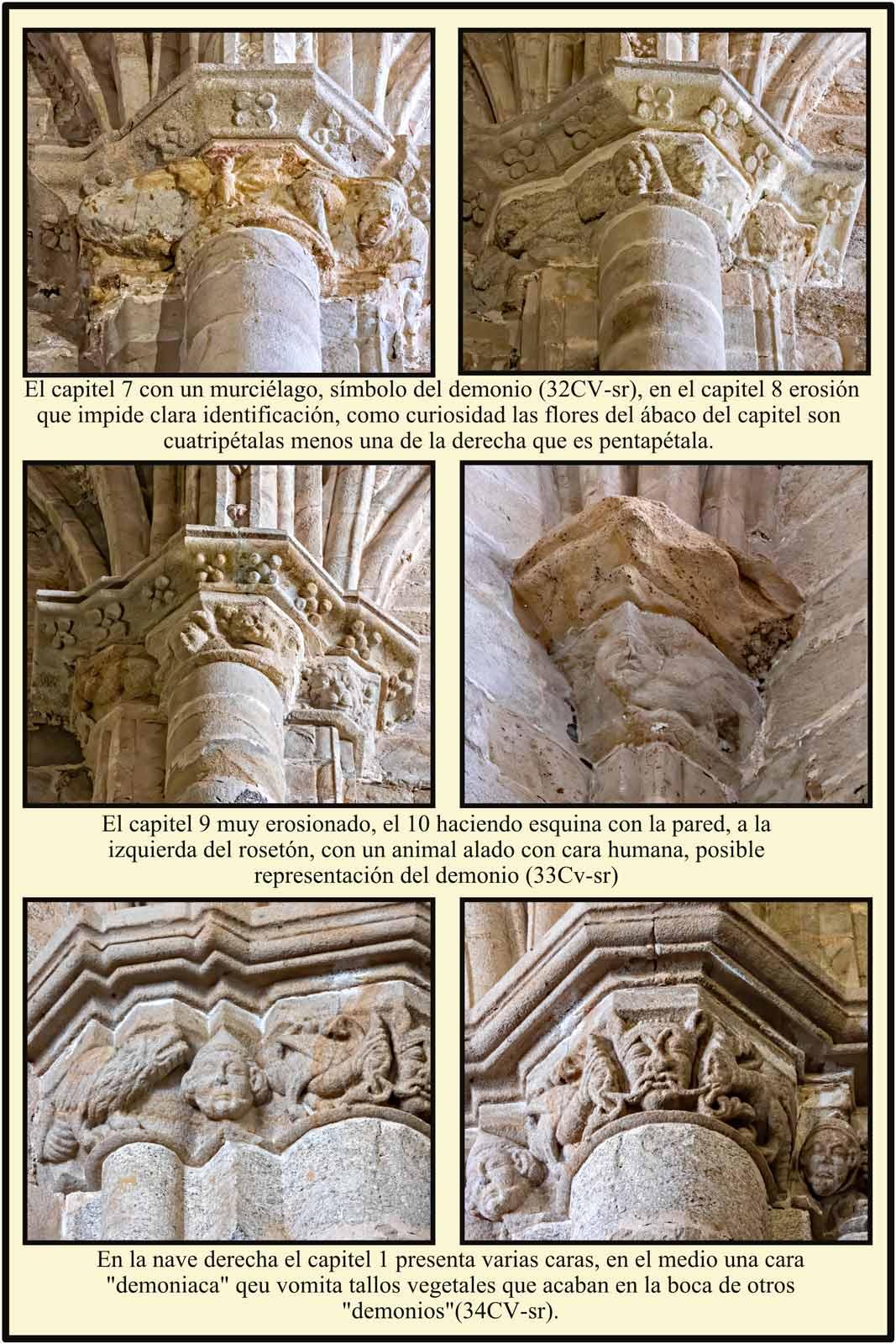 capiteles romanicos catedral vieja murcielago simbolo demonio cara vomito vegetal