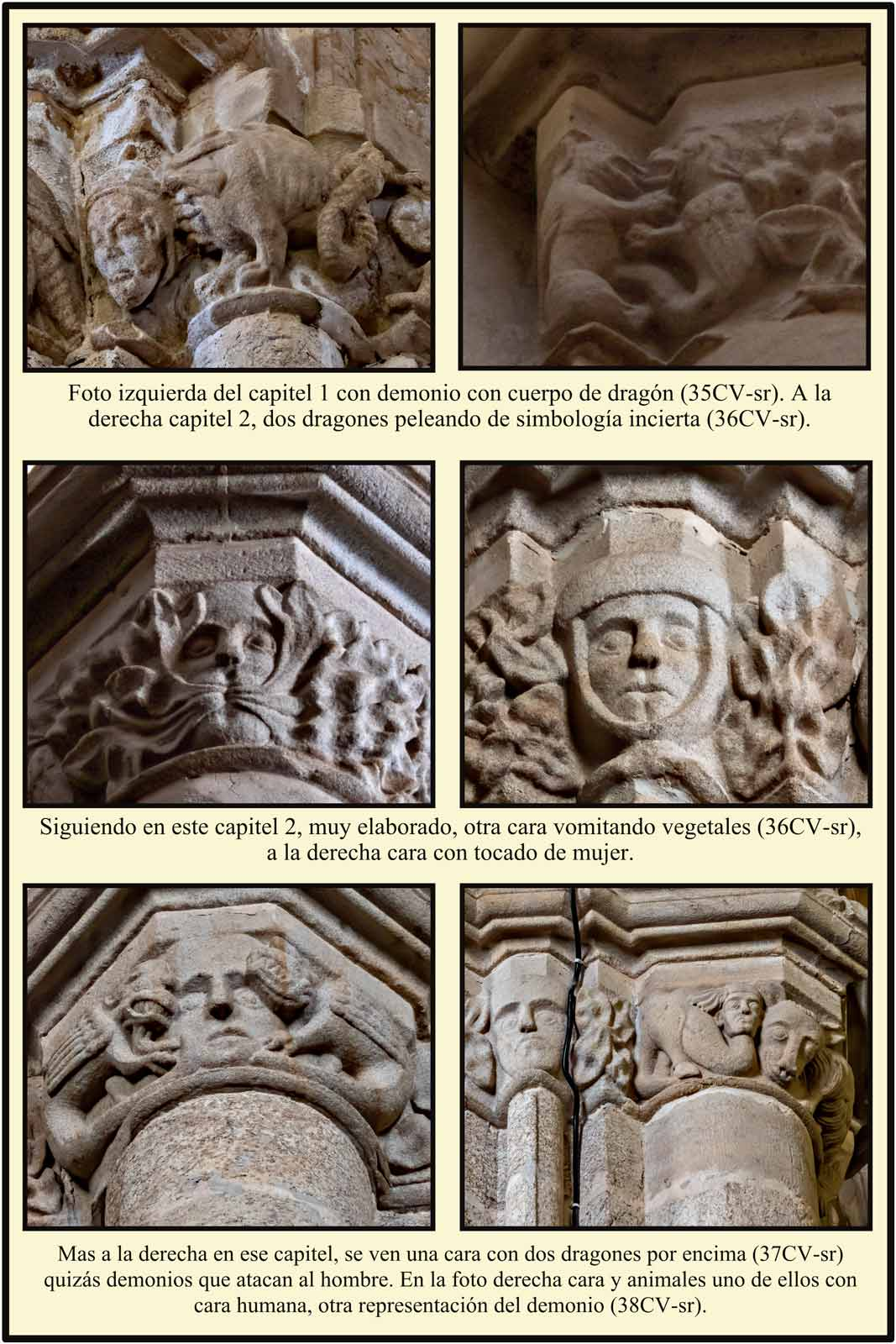 Capiteles romanicos Catedral Vieja Plasencia demonio hombre vegetal