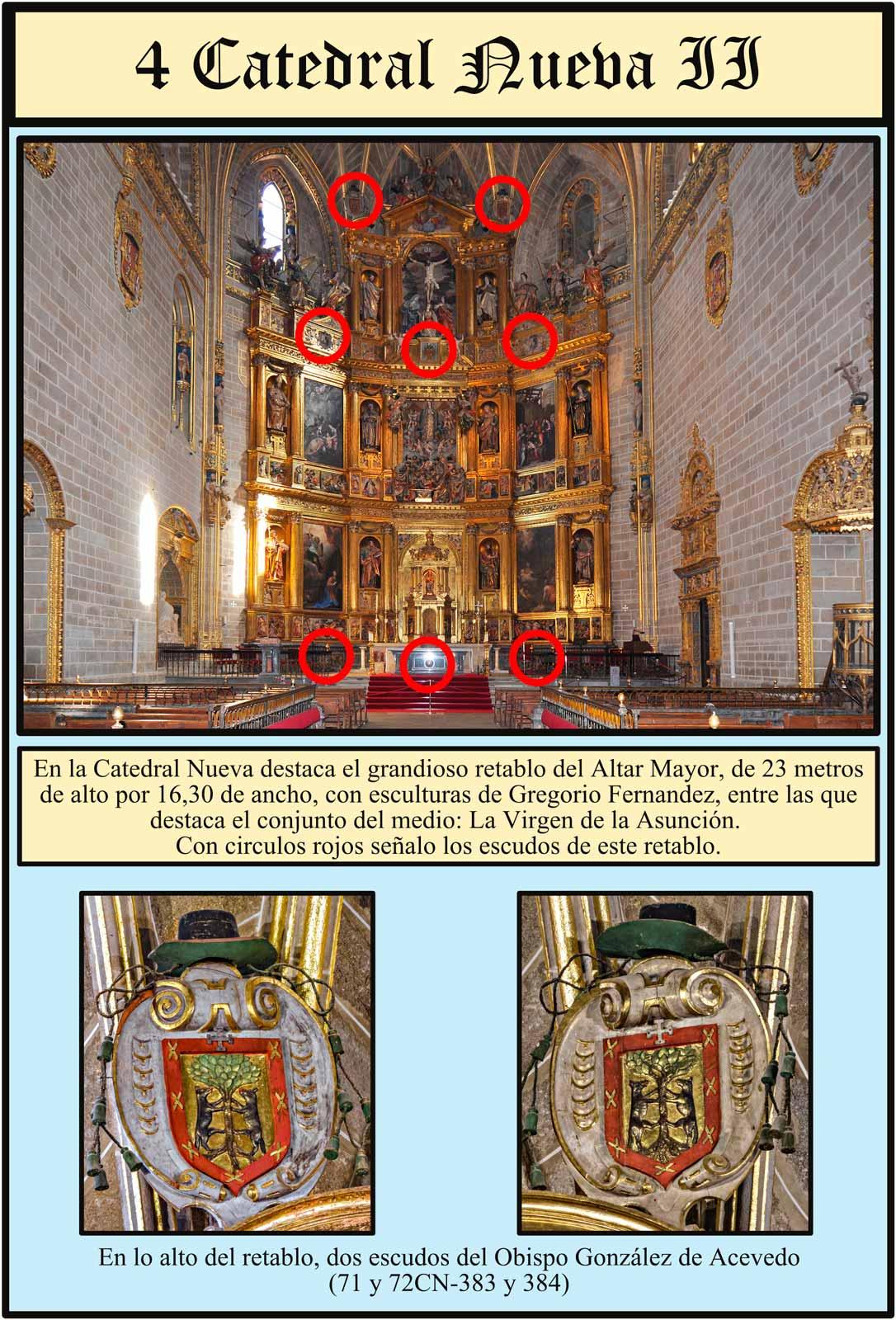 Escudos en el retablo de Gregorio Fernandez en la Catedral Nueva de Plasencia