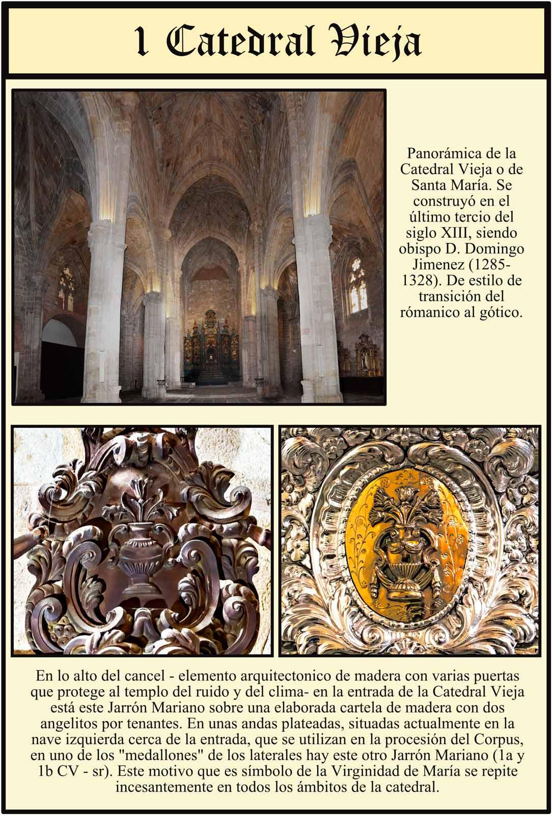 Interior de la Catedral Vieja de Plasencia Jrrones marianos simbolos de María