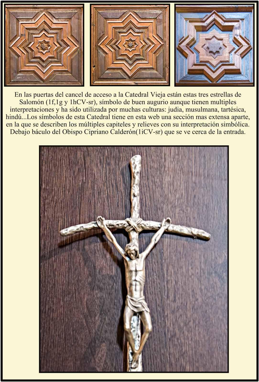 Estrellas de Salomon en la puerta de madera de la entrada a la Catedral Vieja