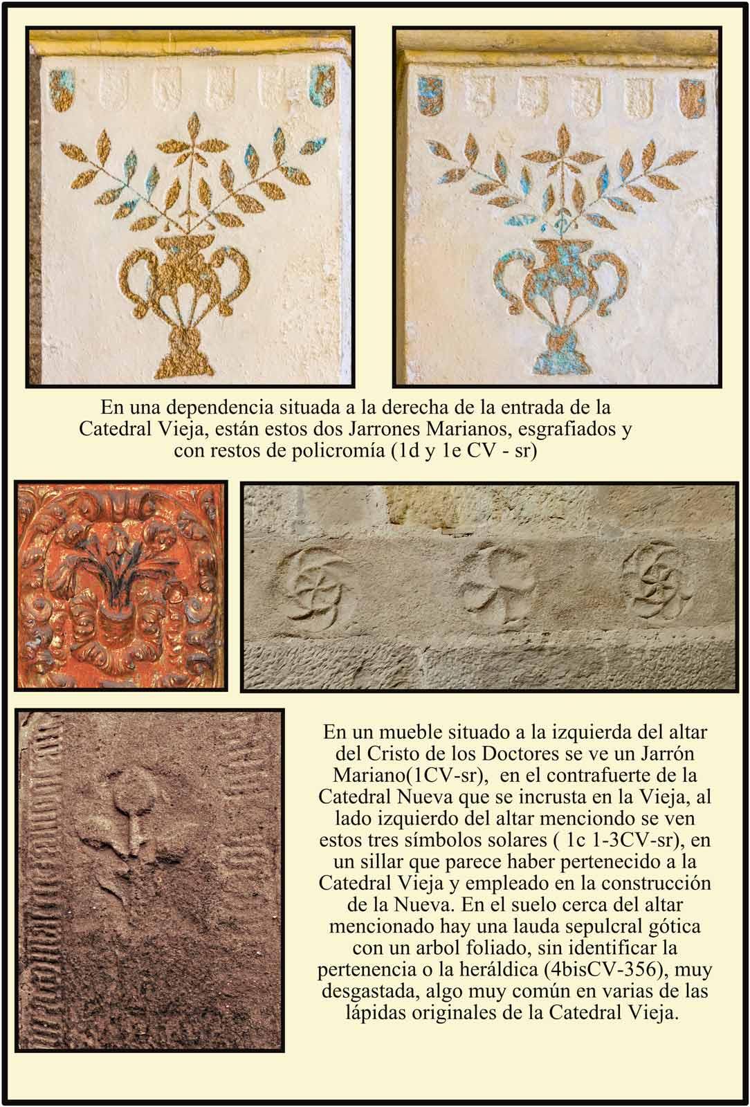 Catedral Vieja simbolos solares y jarrones marianos
