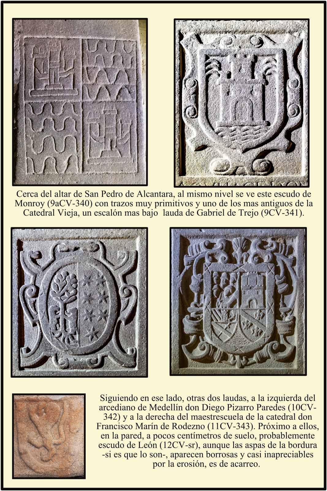 Suelo catedral plasencia laudas escudos Monroy Trejo Pizarro Martin de Rodezno Leon